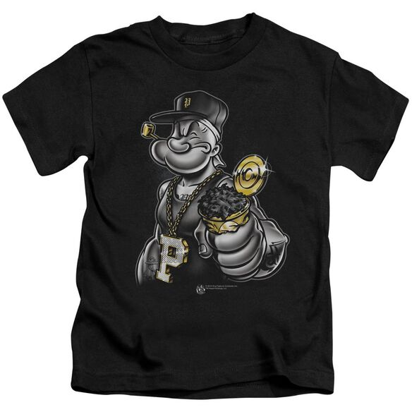 Popeye Get More Spinach Short Sleeve Juvenile Black T-Shirt
