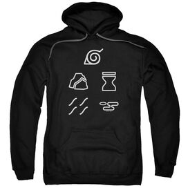 Naruto Shippuden Village Symbols Adult Pull Over Hoodie Black