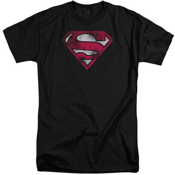 Superman War Torn Shield Short Sleeve Adult Tall T-Shirt
