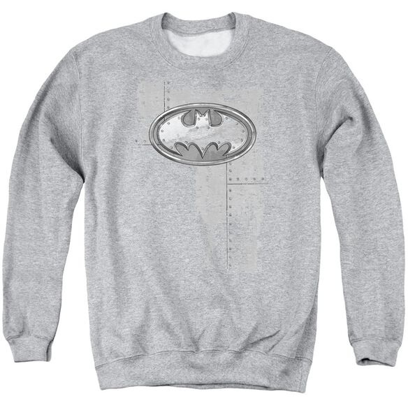 Batman Rivited Metal Logo Adult Crewneck Sweatshirt Athletic