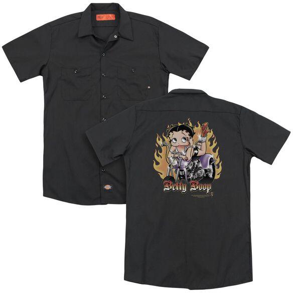 Betty Boop Biker Flames Boop (Back Print) Adult Work Shirt