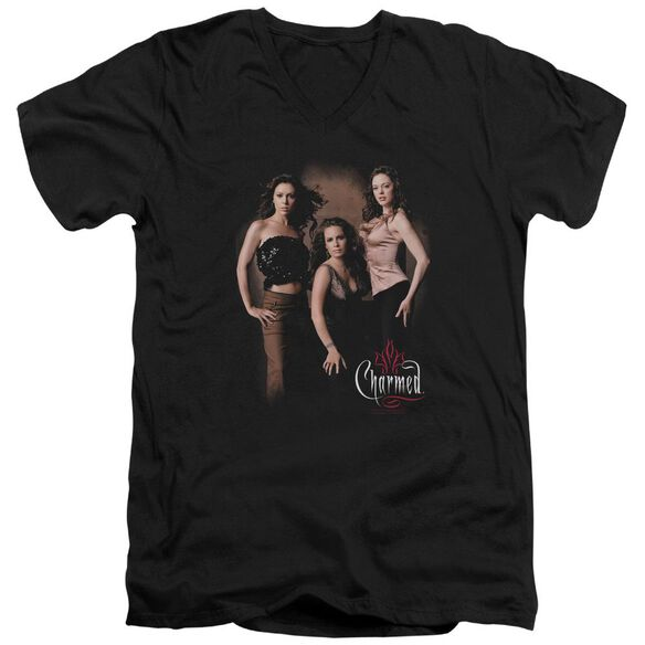 Charmed Three Hot Witches Short Sleeve Adult V Neck T-Shirt