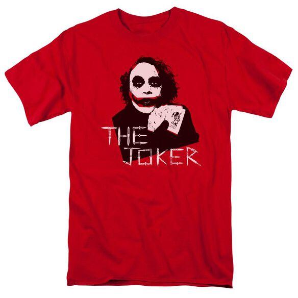Dark Knight Dagger Clown Short Sleeve Adult Red T-Shirt