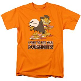 Garfield I Vant Doughnuts Short Sleeve Adult Orange T-Shirt