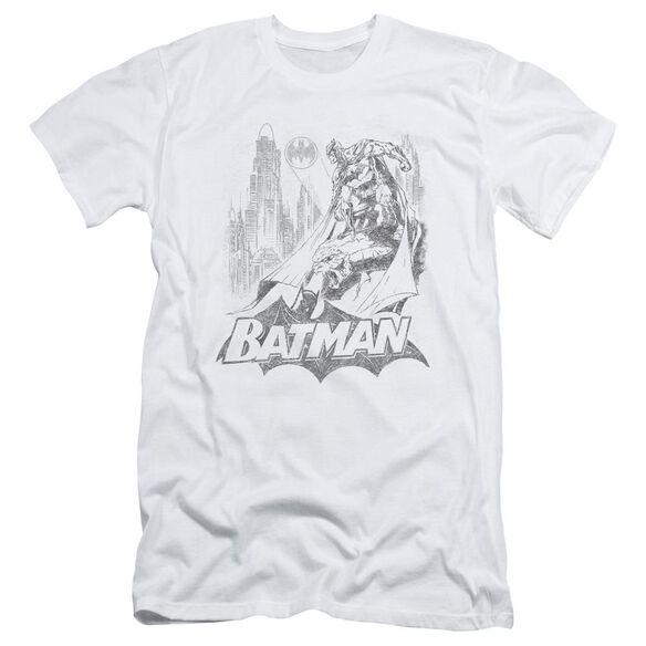 BATMAN BAT SKETCH - S/S ADULT 30/1 - WHITE T-Shirt