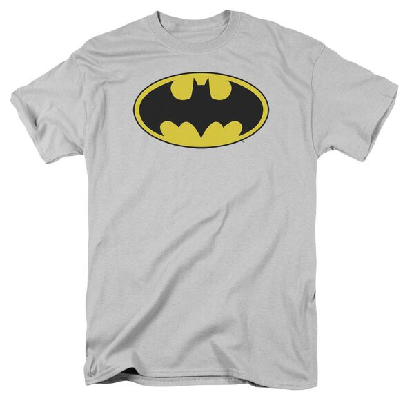 Dc Batman Logo Short Sleeve Adult Silver T-Shirt