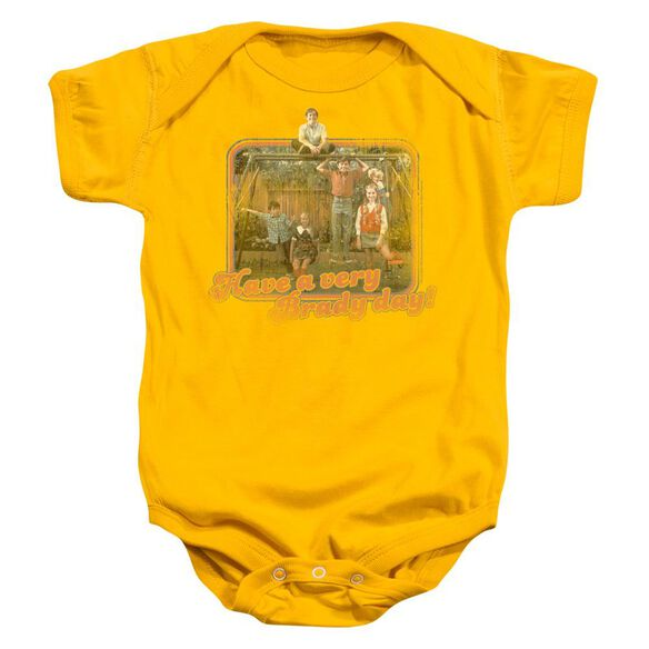 Brady Bunch Have A Very Brady Day! Infant Snapsuit Gold Md