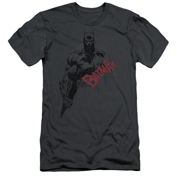 Batman Sketch Bat Red Logo Short Sleeve Adult T-Shirt