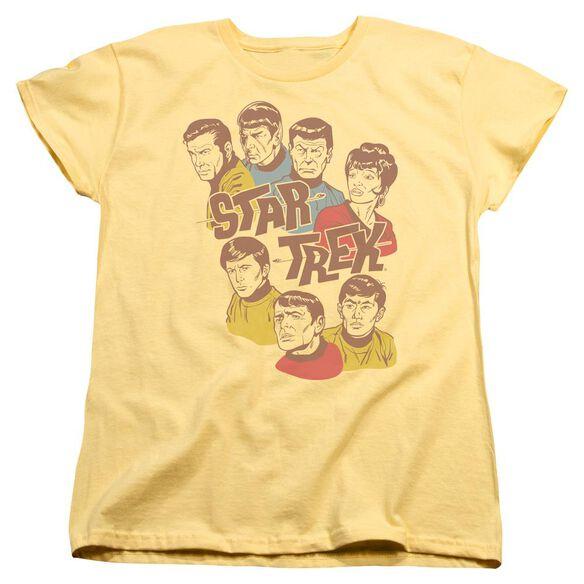 Star Trek Retro Illustrated Crew Short Sleeve Womens Tee T-Shirt