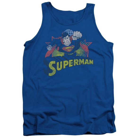 Jla Superman Rough Distress Adult Tank Royal