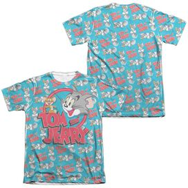 Tom And Jerry Double Trouble (Front Back Print) Adult Poly Cotton Short Sleeve Tee T-Shirt
