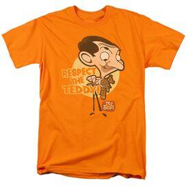Mr Bean Respect The Teddy Short Sleeve Adult Orange T-Shirt