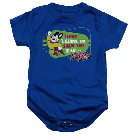 Mighty Mouse Here I Come Infant Snapsuit Royal Blue Md