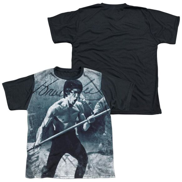Bruce Lee Whoooaa Short Sleeve Youth Front Black Back T-Shirt