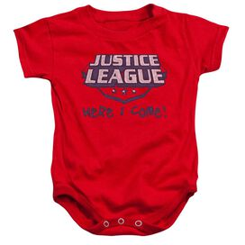 Jla Here I Come Infant Snapsuit Red