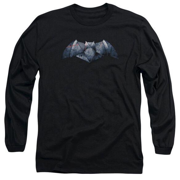 Batman V Superman Plated Bat Logo Long Sleeve Adult T-Shirt