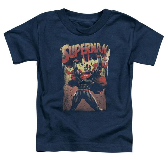 Superman Lift Up Short Sleeve Toddler Tee Navy T-Shirt