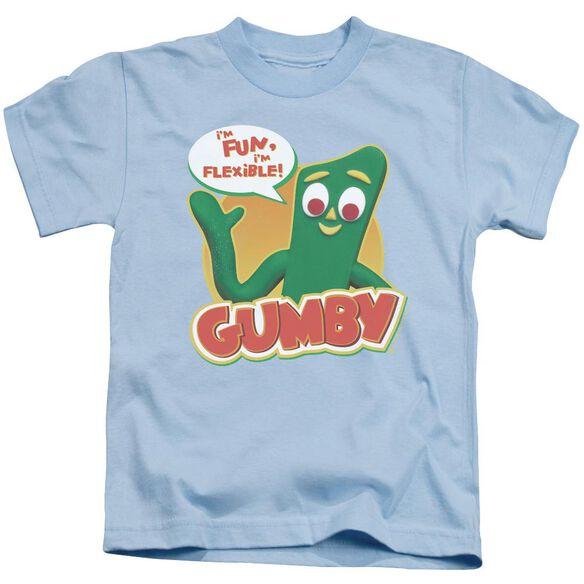 Gumby Fun & Flexible Short Sleeve Juvenile Light Blue T-Shirt