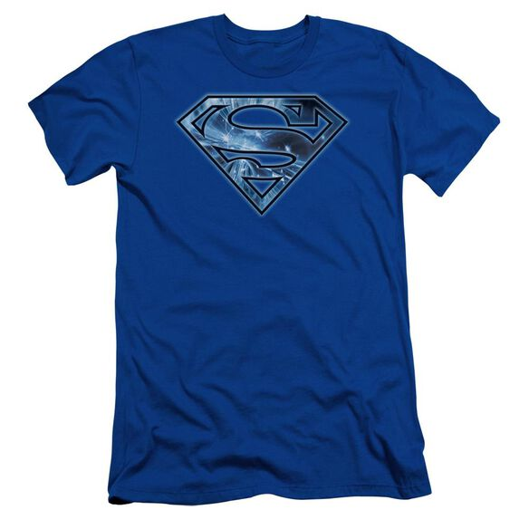 Superman On Ice Shield Short Sleeve Adult Royal T-Shirt