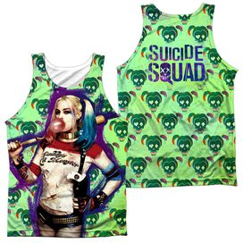 Suicide Squad Harley Bubble Skull (Front Back Print) Adult Poly Tank Top