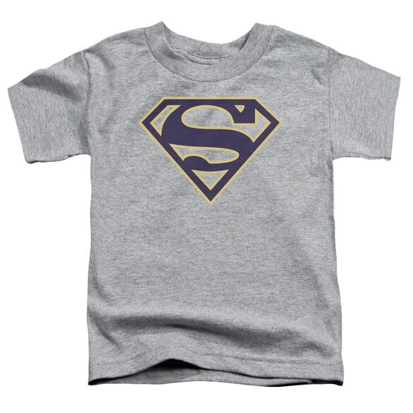 Superman Navy & Gold Shield Short Sleeve Toddler Tee Athletic Heather T-Shirt