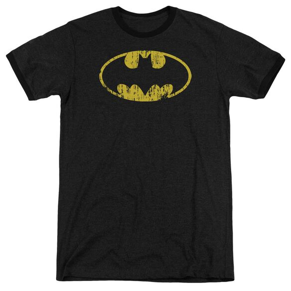 Batman Classic Logo Distressed Adult Heather Ringer