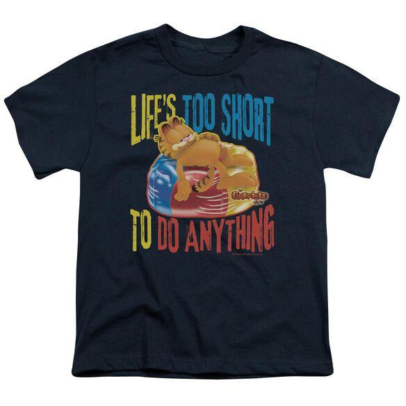 GARFIELD TOO SHORT - S/S YOUTH 18/1 - NAVY T-Shirt