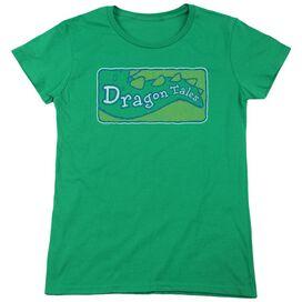 Dragon Tales Logo Distressed Short Sleeve Womens Tee Kelly T-Shirt