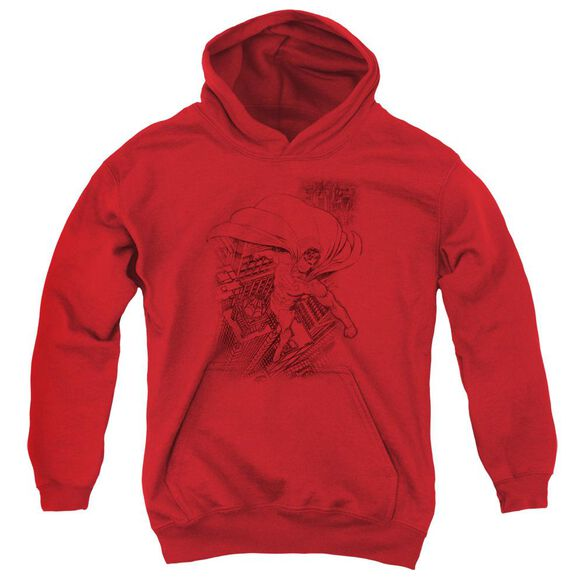 Superman In The City Youth Pull Over Hoodie
