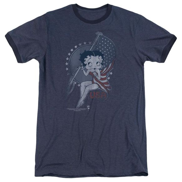 Betty Boop Proud Betty Adult Heather Ringer Navy