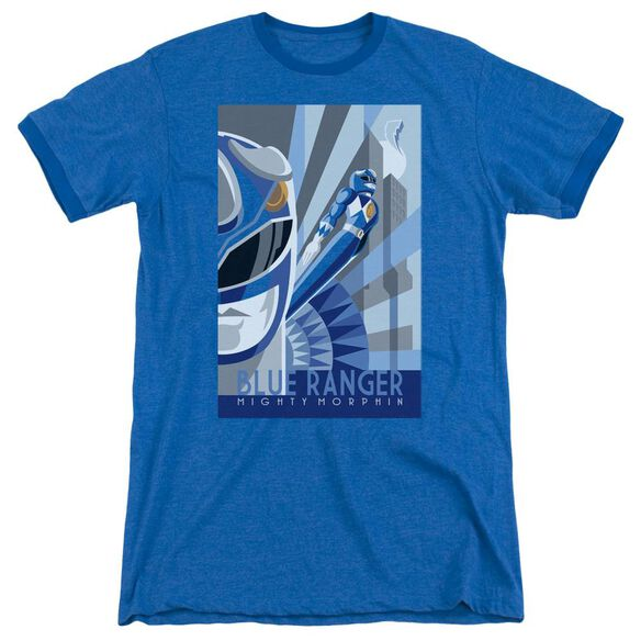 Power Rangers Blue Ranger Deco Adult Heather Ringer Royal Blue