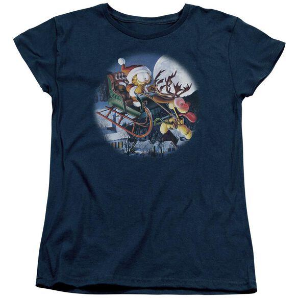 Garfield Moonlight Ride Short Sleeve Womens Tee T-Shirt