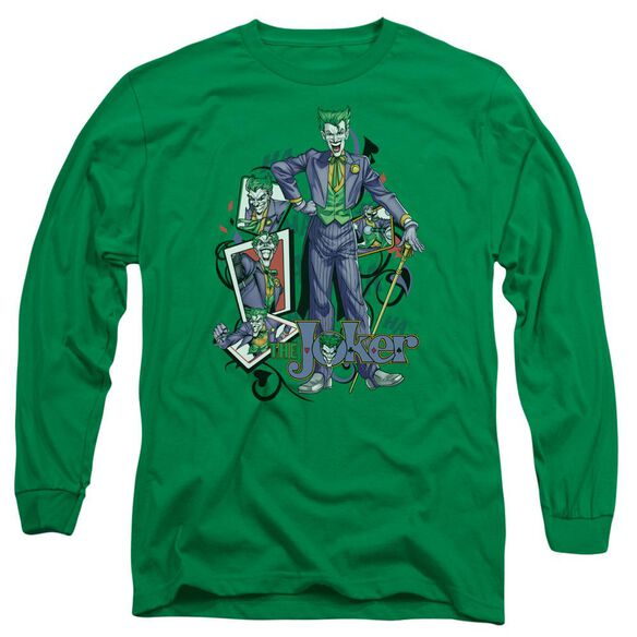 Batman Wild Cards Long Sleeve Adult Kelly T-Shirt