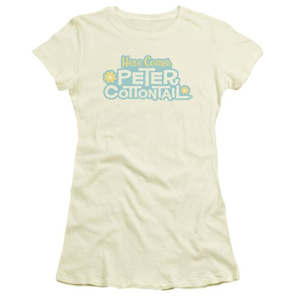 Here Comes Peter Cottontail Logo Short Sleeve Junior Sheer T-Shirt