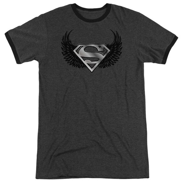 Superman Dirty Wings - Adult Heather Ringer - Charcoal