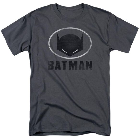 Batman Mask In Oval Short Sleeve Adult Charcoal T-Shirt