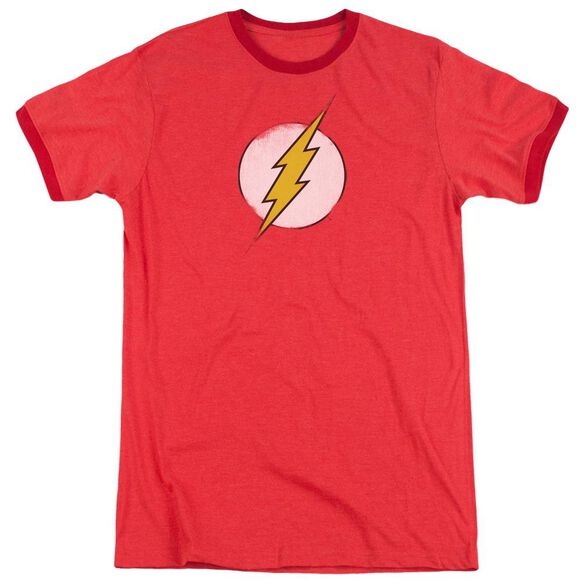 Dc Flash Rough Flash Logo Adult Heather Ringer