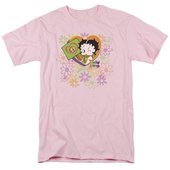 Betty Boop Peace Love And Boop Short Sleeve Adult Pink T-Shirt