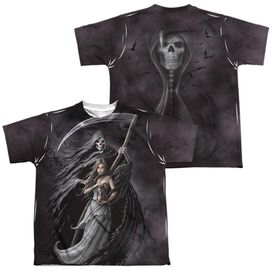 Anne Stokes Summon The Reaper (Front Back Print) Short Sleeve Youth Poly Crew T-Shirt