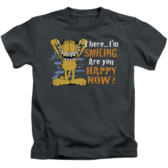 Garfield Smiling Short Sleeve Juvenile Charcoal T-Shirt