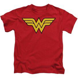 Dc Wonder Woman Logo Short Sleeve Juvenile Red T-Shirt