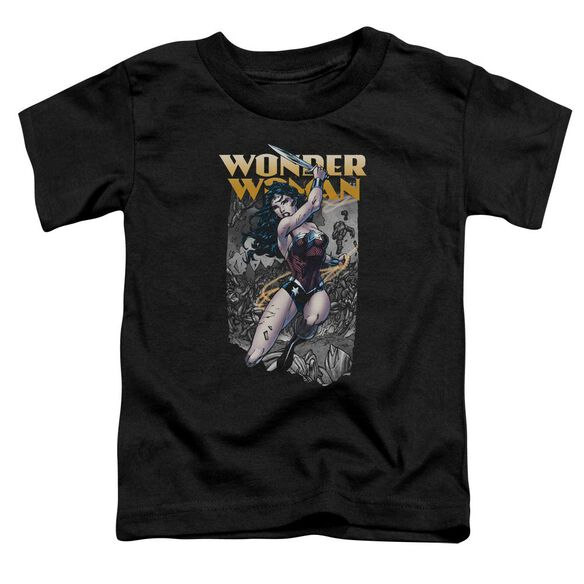 Jla Wonder Slice Short Sleeve Toddler Tee Black T-Shirt