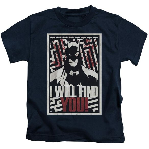 Batman I Will Fnd You Short Sleeve Juvenile Navy T-Shirt