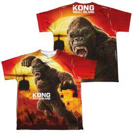 Kong Skull Island Kong Attacks (Front Back Print) Short Sleeve Youth Poly Crew T-Shirt