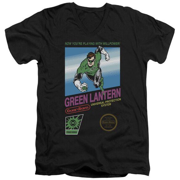 GREEN LANTERN BOX ART - S/S ADULT V-NECK 30/1 - BLACK T-Shirt