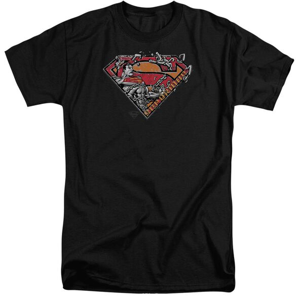 Superman Breaking Chain Logo Short Sleeve Adult Tall T-Shirt