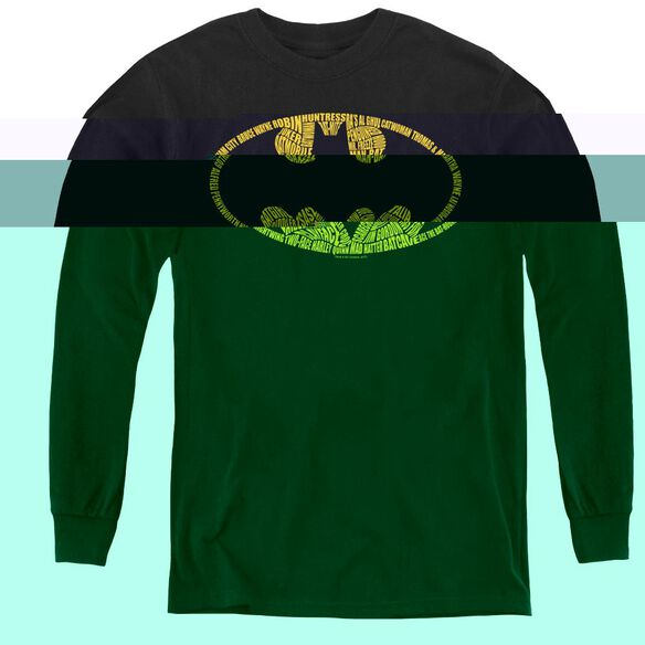 Batman Word Logo - Youth Long Sleeve Tee - Black