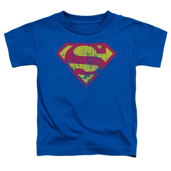 Superman Classic Logo Distressed Short Sleeve Toddler Tee Royal Blue T-Shirt