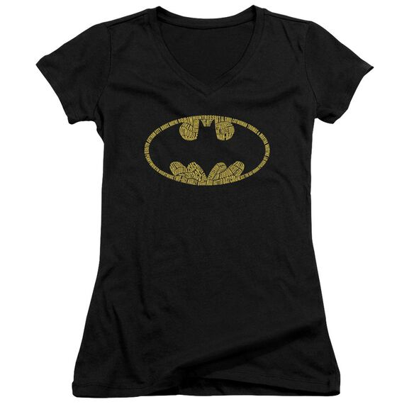 Batman Word Logo Junior V Neck T-Shirt