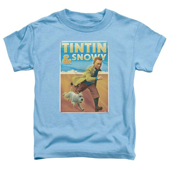 Tintin Tintin & Snowy Short Sleeve Toddler Tee Carolina Blue Sm T-Shirt
